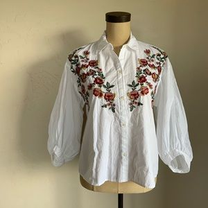 Zara Trafaluc floral embroidered button up top